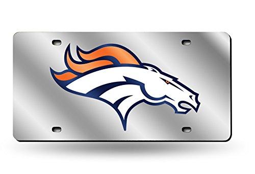 Rico Industries NFL Denver Broncos Laser Cut Auto Tag, (Denver Broncos Silver Laser)