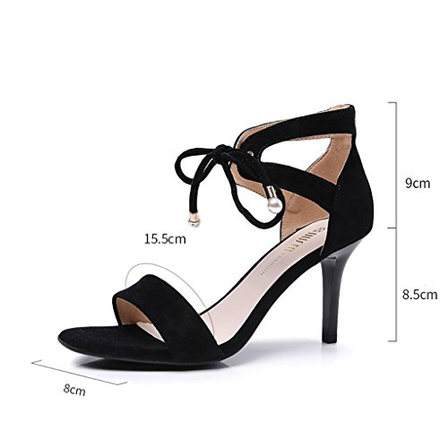 HY taille courroie ouvrent sandales mode hauts en métal talon 5cm de 35 de haut de d'orteil talons 8 de de Couleur décoration les Noir BrxPBI