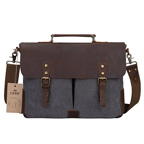 S-ZONE Fashion Canvas Genuine Leather Trim Travel Briefcase 15.6-inch Laptop Bag Upgraded Version