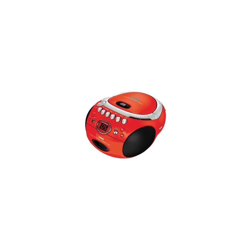 Naxa NX 235 Portable CD Player with AM/FM Stereo Radio Cassette Player/Recorder RED