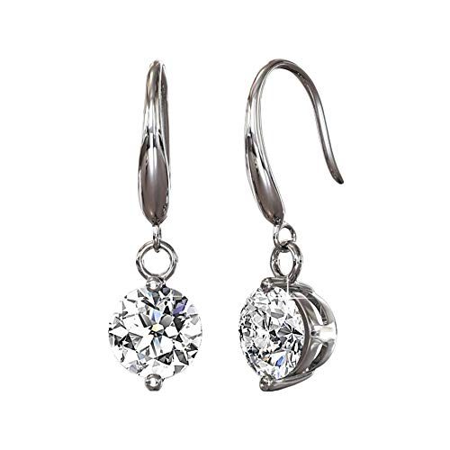 (Cate & Chloe Veronica 18k White Gold Dangling Earrings w/Swarovski Crystals, Sparkling Round Cut Solitaire Diamond Silver Drop Earring Set Wedding Anniversary Jewelry - Hypoallergenic)