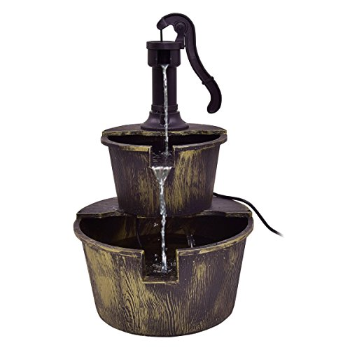 Giantex 2-Tier Barrel Water Fountain Rustic Wood Barrel Water Fountain w/Pump Outdoor Garden Decorative, 27 Inch Tall by Giantex (Image #4)