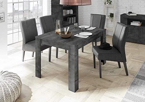 M-012 - Mesa de comedor (140 cm), color gris antracita y alargador ...