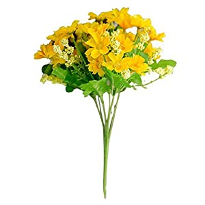 HL Technology 3pieces/lot Bright Colorful Windowsill Artificial Flowers Life Inspiration Small Bouquet of Chrysanthemum Multi Colors Choosable (Yellow) 42