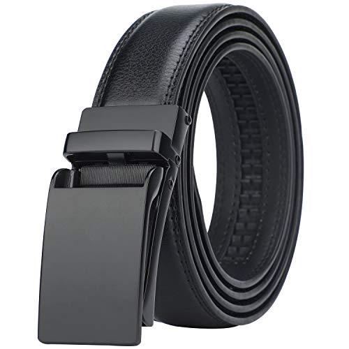 BOSTANTEN Men/'s Leather Ratchet Dress Belt with Automatic Sliding Buckle