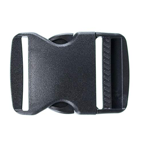 2 Inch Side Release Buckle Packs - Replacement Black Plastic Buckles for Nylon Web Belts, Packs, and Camping Gear - Multi Purpose Buckles (2 Pack)