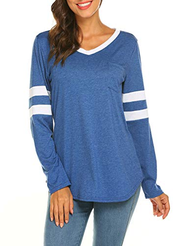 0d7dec8454b4a Sweetnight Women s Striped Tops Casual V Neck Baseball Tee Shirts Short Long  Sleeve Casual Blouse