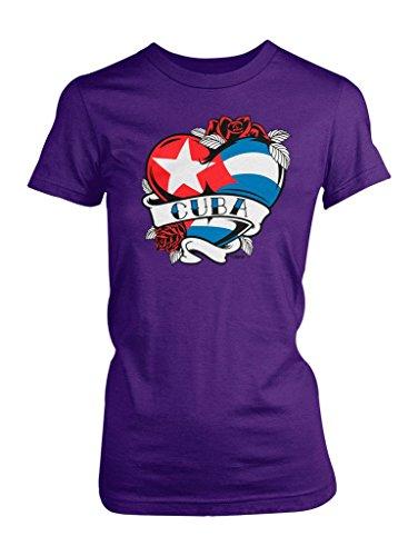 Purple Heart Tattoos (LOGOPOP Women's Cuba Tattoo Heart Flag T-Shirt, M,)