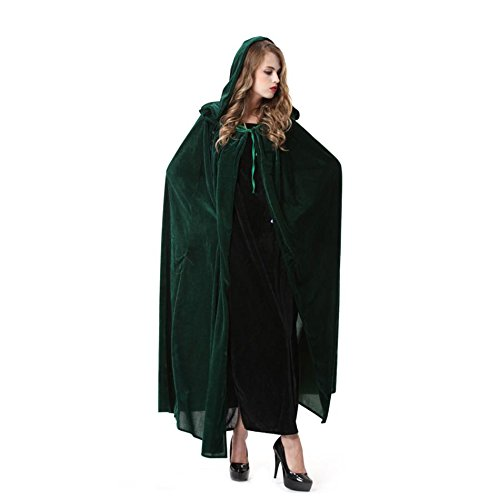 OLSUS Green Witch Cosplay Cloak Masquerade Hooded Cape Halloween Party Dress Costumes -