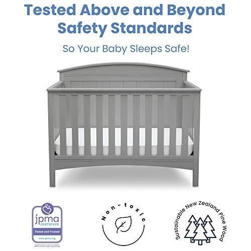 41VDG455YqL - Delta Children Archer Solid Panel 4-in-1 Convertible Baby Crib, Grey