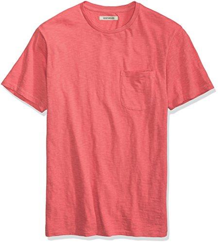 Goodthreads Men's Lightweight Slub Crewneck Pocket T-Shirt, Holly Berry/Washed Red, XX-Large
