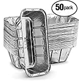 Propack Aluminum Disposable Rectangle 5 Pound Loaf Pans For Serving, Baking, Cooking, Roasting, Broiling, Cakes, Lasanga,etc, 12.5'' x 6.5'' x 3'' Pack of 50