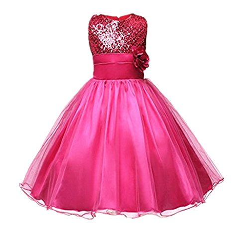 DreamHigh Sequined Flower Girls Party Pegant Dress (14, Rose) (Girls Party Dresses Size 14)