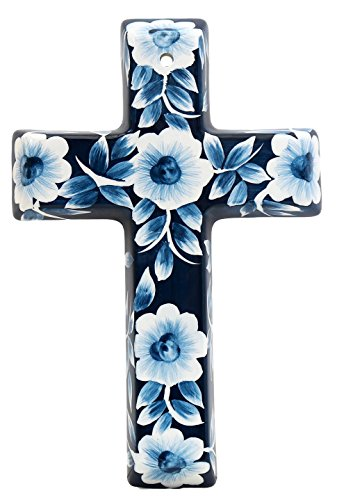 Precious Home Collection, Blue Floral Decoration Cross, 9- 3/16
