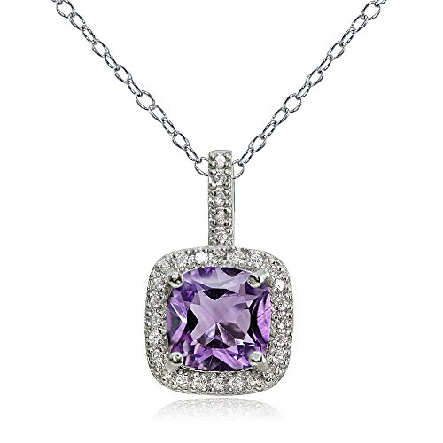 Ice Gems Sterling Silver Amethyst & White Topaz Cushion-Cut Necklace