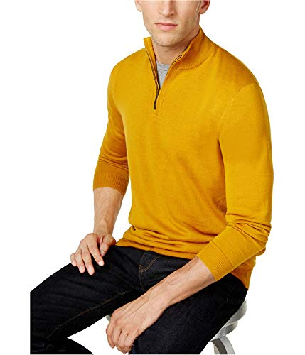 Club Room Mens LS Knit Pullover Sweater, Yellow, - Ls Knit Pullover
