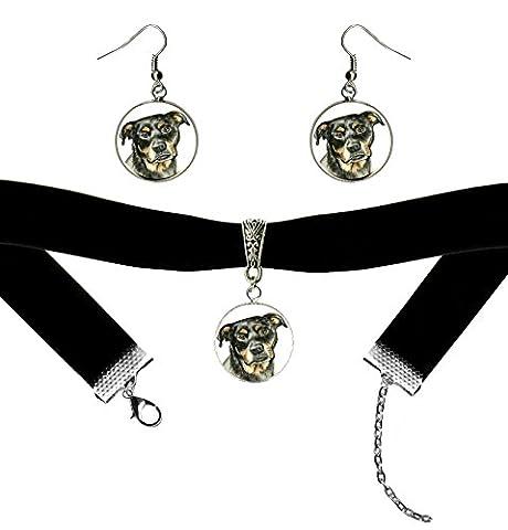 Rottweiler Dog Black Velvet Choker & Silver Hypoallergenic Steel Earrings Set - Rottweiler Jewelry
