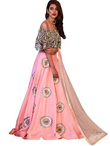 Shopaholic Women's Silk Lehenga Choli Free Size Pink (Lehenga Choli)