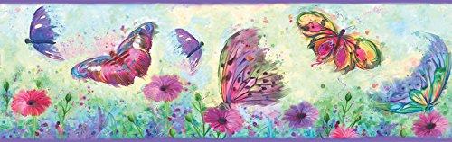 Chesapeake HAS01001B Ava Purple Butterfly Swoosh Wallpaper Border