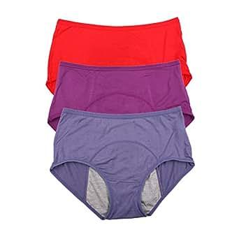 YOYI FASHION Bamboo Viscose Fiber Brief Menstrual Leakproof Panties Multi Pack US Size 3XL/10, Red,Purple,Denim Blue