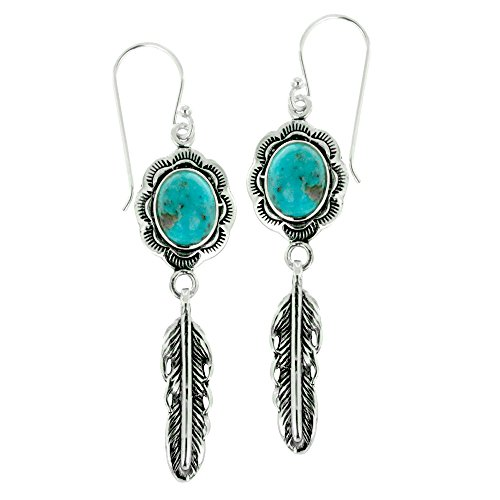 925 Oxidized Sterling Silver Oval Turquoise Gemstone Feather Dangle Earrings (Turquoise Earrings Stone)