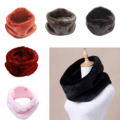 Women Faux Fur Infinity Loop Circle Thick Scarf, Warm Cozy Winter Neck Scarf Wrap (White, Free Size)