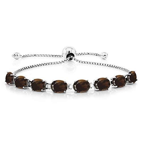Gem Stone King 9.60 Ct Oval Brown Smoky Quartz 925 Sterling Silver Adjustable Tennis Bracelet