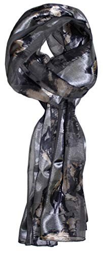 Ted and Jack - Stylish Equestrian Horse Print Silk Feel Scarf (Painted Grey)