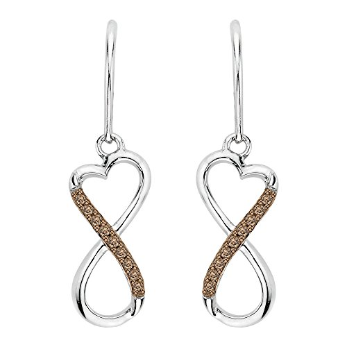 Brown Diamond Infinity Dangle Heart Earrings in Sterling Silver (1/20 cttw) ()