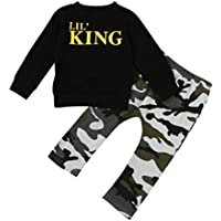HOT SALE!!1-7T Baby Boy Letter T shirt Tops + Camouflage Pants Clothes - Toddler Kids Outfits Set (Black, 6T)
