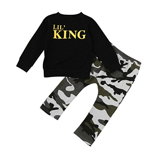 Boy Letter T shirt Tops + Camouflage Pants Clothes - Toddler Kids Outfits Set (Black, 6T) ()
