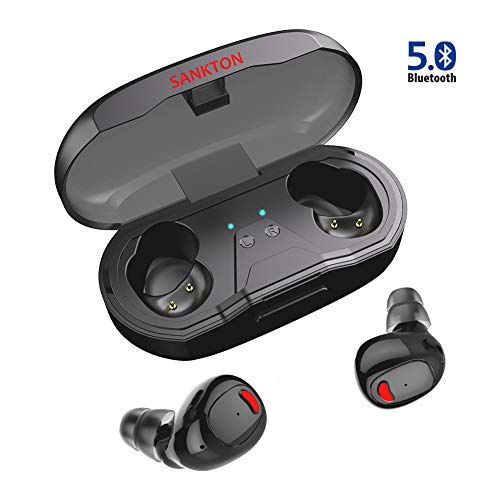 SANKTON U1 TWS Bluetooth 5.0 Earbuds True Wireless Stereo Headphones IPX5 Waterproof in-Ear Built-in Mic Headset Premium Sound with Deep Bass for Running Sport