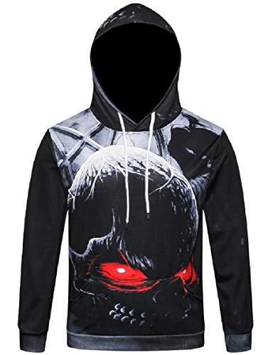 willwinMen WillingStart Men Oversized Skull Casual Pockets Hoodie Halloween Sweatshirts Top Pattern1 2XL