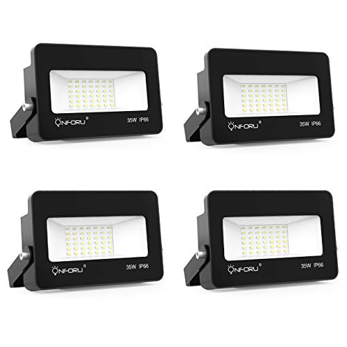 Onforu 4 Pack 35W LED Flood Light, IP66 Waterproof, 3000lm 5000K Daylight White, Super Bright Security Lights, Outdoor Landscape Floodlight for Yard, Garden, Garages, Rooftop, Party