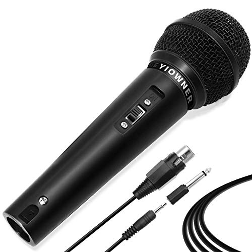 Yiowner Wired Karaoke Microphone for Singing, Handheld Microphone with 3.0m Cable, Vocal Dynamic Mic for Speaker, AMP,Mixer, DVD
