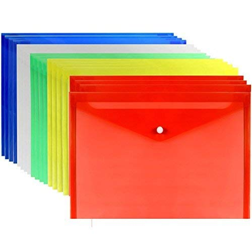 Loves 20pcs Premium Quality Poly Envelope, Document Folder with Snap Button Closure, A4 Size, 5 Assorted Colors Set-Translucent, Water/Tear Resistant