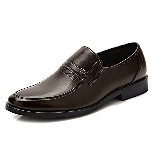 Pu Appartements Marron D'affaires Oxfords Jialun Mus Souple Talon Marron Sole Taille Bloc Formels 10 Chaussures color des Hommes Cuir wqFB0