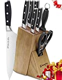 Knife Set, 8-Piece Kitchen Knife Set with Block Wooden, Self Sharpening Manual for Chef Knife Set, German Stainless Steel, Emojoy (8-Piece Knife Set). Review