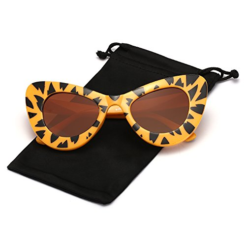 Q Eye Cateye Sunglasses Oversized Thick Frame for Women and Men Retro Classic Bold Mod Gothic Colored Sunglasses, Tiger Grain Frame and Brown Lens - Thick Tiger