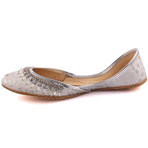 8 Crystal Unze 3 Leather Silver Women Indian Slippers Size Ladies Khussa Casual UK Shoes Flat Traditional Décor Jainism BIa1wBq