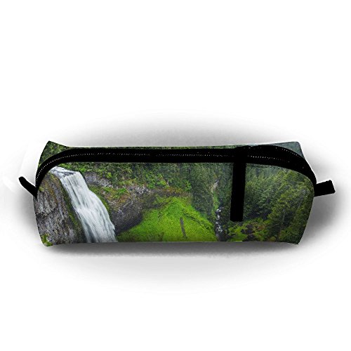 Waterfall USA Nature Landscape Water Salt Creek Falls Printing Pen Bag Stationery Pouch Cosmetic Bags Pencil Holder Makeup Bag Cylindrical Purse