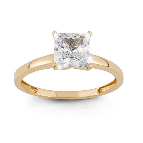 10k Zirconia Ring Cubic (Celebration Moments 10K Yellow Gold Princess-Cut 1.25 CT Swarovski CZ Solitaire Ring - Size 6)