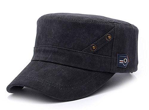 ChezAbbey Men's Cotton Flat Top Peaked Baseball Twill Cap Solid Brim Cadet Military Hat - Kids Top Flat