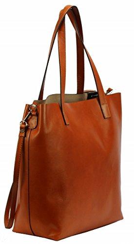 BOZANA Berlin XXL Luxus Shopper ECHT LEDER Tasche Damentasche Cognac IT Leather