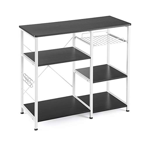 Mr IRONSTONE Kitchen Baker's Rack Utility Storage Shelf Microwave Stand 3-Tier+3-Tier Table for Spice Rack Organizer Workstation (35.5