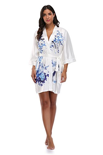 French Floral Robe - Luvrobes Women's Watercolor Floral Kimono Robe, Short (S, White)