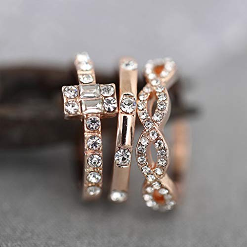 Diamond Studded Ring cubic zirconia rings Geometric Square Zircon Rings 3PC Fashion Trend Jewelry by uaswguDFS (Image #5)