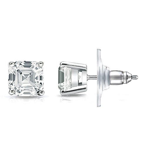 IGI Certified 14k White Gold 4-Prong Basket Asscher-cut Diamond Stud Earrings (2ct,White,SI1-SI2)
