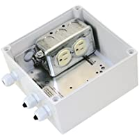 VideoComm TCO-IP67J120 - Outdoor IP-67 Rated 15Amp / 120Volt Duplex Weatherproof Electrical Junction Box​ Kit with Pole/Wall Mount ​. Connect or extend outdoor power supplies,security cameras etc