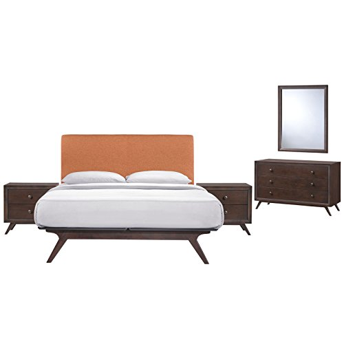 - Modway Tracy Mid-Century Modern Wood Platform Queen Size Bed with Two Nightstands a Mirror and Dresser in Cappuccino Orange